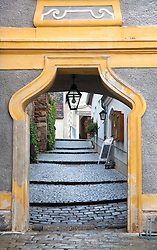 Wachau Valley, Austria: Street scene in the heart of Durnstein.  This town retains its historic character and air of romance, one of the most popular stops on the Danube on a cruise between Melk and Durnstein.