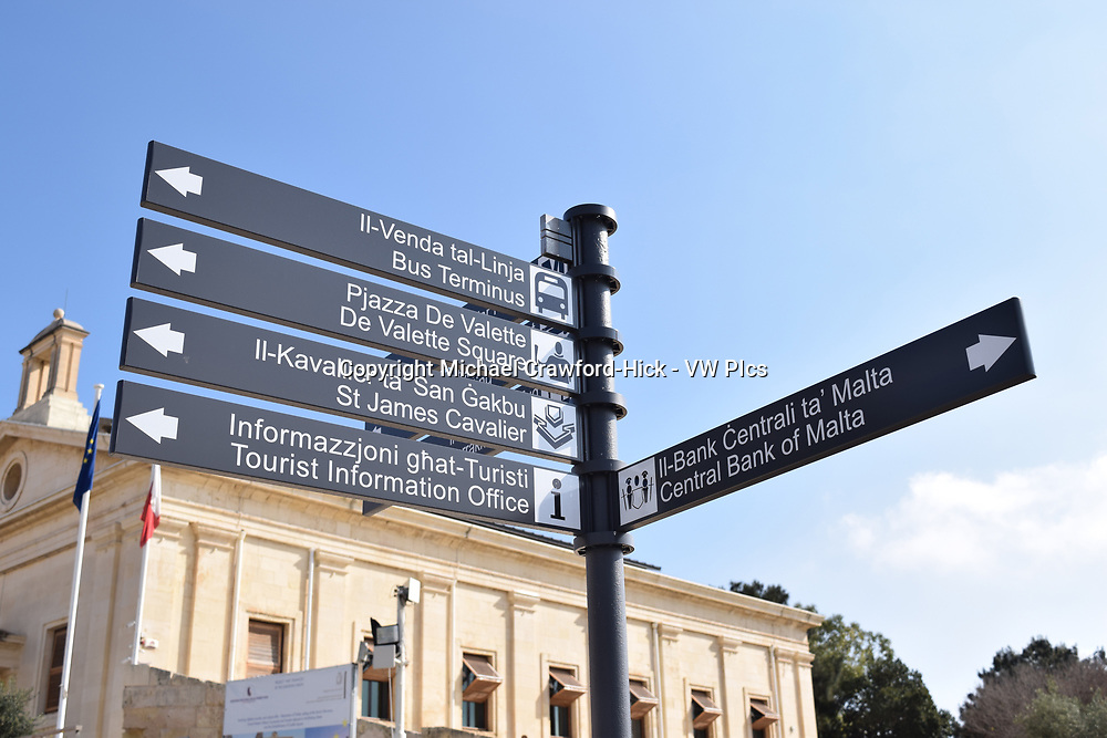 Tourist Sign for direction in Malta