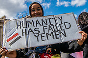 "Protesters from ""Justice for Yemen"" and ""Black Lives Matter"" rally demonstration gather together at Parliament Square in London on Sunday, July 5, 2020. Dozens of protesters holding Yemeni Flags and placards ""Save Yemen"" gathered in London today calling UK Government to end an arms deal with Saudi Arabia and pressure Saudis to stop the bombing of Yemen. New data shows Britain's Royal Air Force trained Saudi personnel in 2019 on fighter jets used to bomb civilians in Yemen – a country on the brink of famine – while UK soldiers coached other forces in the Saudi-led coalition at nearly a dozen army bases in Britain. (VXP Photo/ Erica Dezonne)"