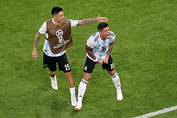 Argentina's Marcos Rojo (right) celebrates scoring his side's second goal of the game during the FIFA World Cup Group D match at Saint Petersburg Stadium.
