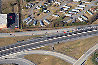Aerial photo showing an accident scene on I-40 in Wilson County near Mt. Juliet Road involving two fatalities. A small pickup truck ran head on into a tractor trailer after getting on the interstate going the wrong direction.