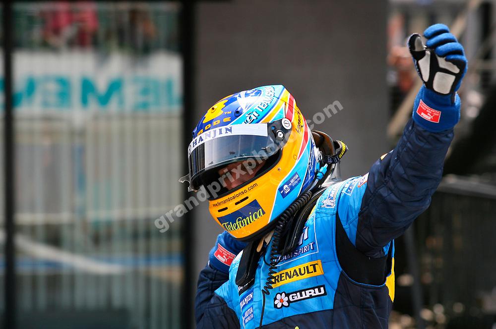 Renault driver Fernando Alonso celebrates his win in the 2006 British Grand Prix at Silverstone. Photo: Grand Prix Photo