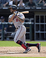 CHICAGO - JUNE 29:  Byron Buxton #25 of the Minnesota Twins bats against the Chicago White Sox on June 29, 2019 at Guaranteed Rate Field in Chicago, Illinois.  (Photo by Ron Vesely)  Subject:  Byron Buxton