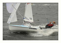 470 Class European Championships Largs - Day 3.Brighter conditions with more wind...GBR849, Joanna FREEMAN, Katie TOMSETT, Parkstone YC