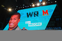 April 26, 2018 - Arlington, TX, U.S. - ARLINGTON, TX - APRIL 26:  D.J. Moore on the video board after being chosen by the Carolina Panthers with the 24th pick during the first round at the 2018 NFL Draft at AT&T Statium on April 26, 2018 at AT&T Stadium in Arlington Texas.  (Photo by Rich Graessle/Icon Sportswire) (Credit Image: © Rich Graessle/Icon SMI via ZUMA Press)
