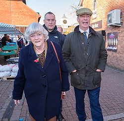 © Licensed to London News Pictures. 08/11/2019. Blackwood Monmouthshire, Wales, UK. General Election 2019; ANNE WIDDECOMBE, and NIGEL FARAGE, leader of the Brexit Party, visiting Blackwood market place as part of his nationwide General Election campaign tour. Photo credit: Simon Chapman/LNP.
