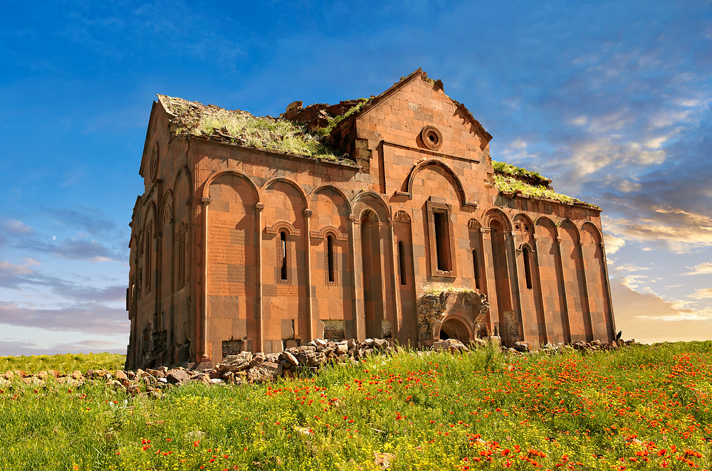 The cathedral of Ani, Also known as Surp Asdvadzadzin (church of the Holy Mother of God), its construction was started in the year 989, under King Smbat II.  Ani archaelogical site on the Ancient Silk Road , Anatolia, Turkey .<br /> <br /> If you prefer to buy from our ALAMY PHOTO LIBRARY  Collection visit : https://www.alamy.com/portfolio/paul-williams-funkystock/ani-turkey.html<br /> <br /> Visit our TURKEY PHOTO COLLECTIONS for more photos to download or buy as wall art prints https://funkystock.photoshelter.com/gallery-collection/3f-Pictures-of-Turkey-Turkey-Photos-Images-Fotos/C0000U.hJWkZxAbg