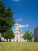 """The """"Old Capitol"""" building, Iowa's former territorial capitol, shines in the sun on an August day. University of Iowa, Iowa CIty, Iowa."""