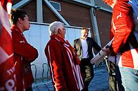 Fotball , Adeccoligaen , 1. Divisjon , Søndag 22. September 2013 , Sarpsborg Stadion<br /> Sarpsborg 08 - Tromsø IL <br /> Agnar Christensen prater med Tromsøsupportere utenfor Stadion etter kampen , treneren tok seg god tid til å svare på spørsmål og takke for støtte<br /> Foto: Sjur Stølen