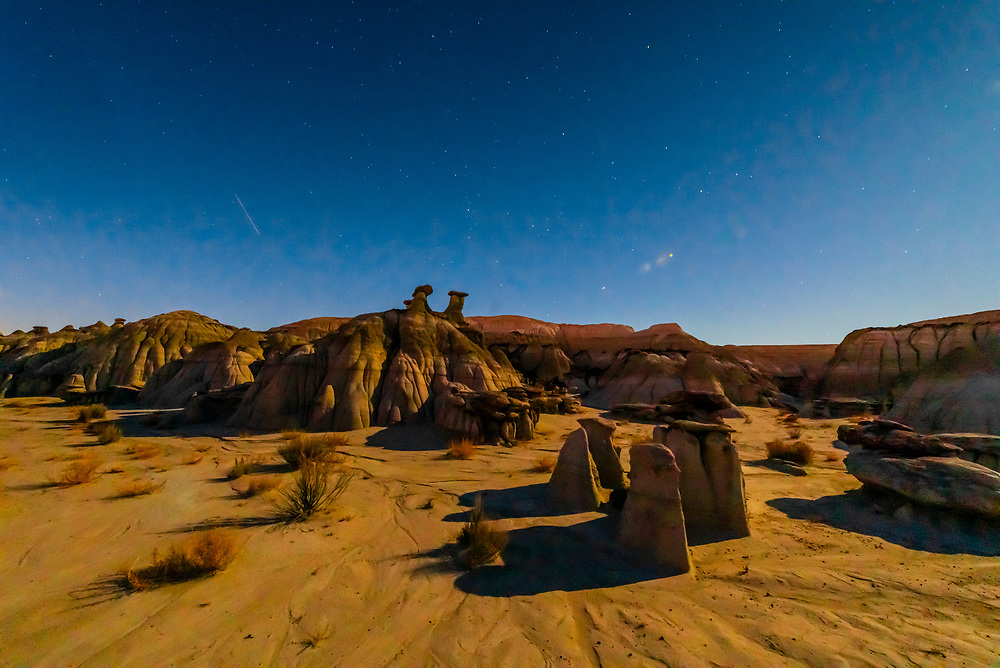 Night view of the strange landscape of the Ah-Shi-Sie-Pah Wilderness Study Area, New Mexico USA.