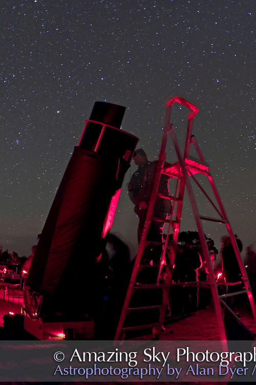 """Looking thru 25"""" dob supplied by Three Rivers Foundation at South Pacific Star Party. Taken with 15mm lens and Canon 20Da camera at ISO1600."""