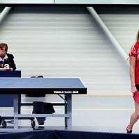 Nederland, Rotterdam , 12 april 2015.<br /> Tafeltennister Laura van Oppen van de vrouwentafeltennis uit Heerlen baalt na  haar verlies van Jacintha de Hoop in de wedstrijd Heerlen tegen FVT uit Rotterdam.<br /> Foto:Jean-Pierre Jans