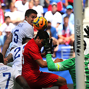 Matt Besler, USA, heads goal wards during the US Men's National Team Vs Turkey friendly match at Red Bull Arena.  The game was part of the USA teams three-game send-off series in preparation for the 2014 FIFA World Cup in Brazil. Red Bull Arena, Harrison, New Jersey. USA. 1st June 2014. Photo Tim Clayton