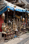 Local antique shop in the old city of Sana'a, a World Heritage Site which has been inhabited for over 2,500 years. Sana'a, Yemen.