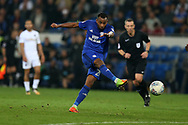 Loic Damour of Cardiff city has a shot at goal. EFL Skybet championship match, Cardiff city v Leeds Utd at the Cardiff city stadium in Cardiff, South Wales on Tuesday 26th September 2017.<br /> pic by Andrew Orchard, Andrew Orchard sports photography.