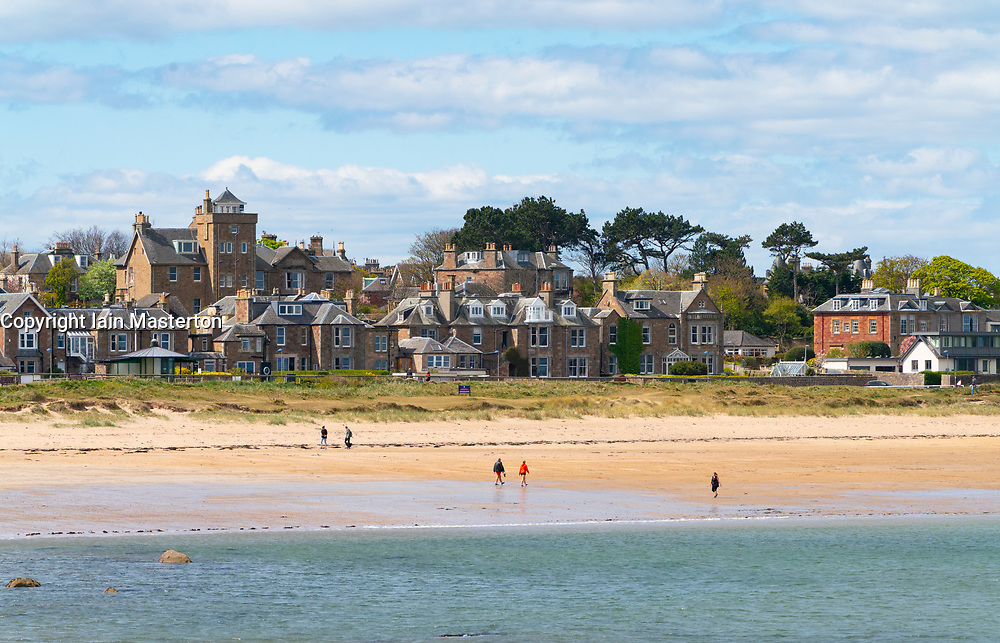 View of beach and houses at West Bay in North Berwick, East Lothian, Scotland , UK