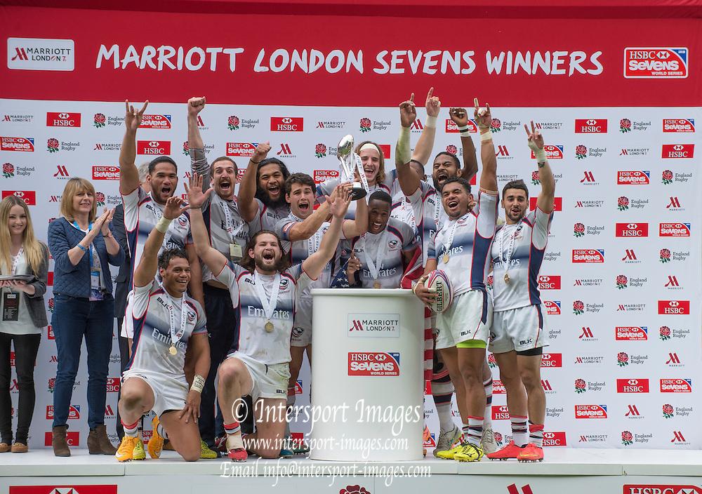 Twickenham, Great Britain,   Cup Winners, USA, Marriott London Sevens played at the  RFU Stadium, Twickenham, ENGLAND. Sunday 17.05.2015<br /> [Mandatory Credit; Peter Spurrier/Intersport-images]