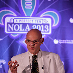 Sep 2, 2009; New Orleans, LA, USA; James Carville talks at the podium after being introduced as a co-chair of the Super Bowl XLVII host committee during a Super Bowl XLVII press conference at the New Orleans Convention Center and Bureau.   Mandatory Credit: Derick E. Hingle-US-PRESSWIRE