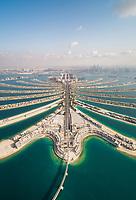Aerial view of the Palm Jumeirah island in Dubai, U.A.E.