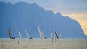 Sailboat race, Kaneohe Bay, Oahu, Hawaii