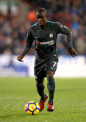 """Chelsea's Ngolo Kante during the Premier League match at the John Smith's Stadium, Huddersfield. PRESS ASSOCIATION Photo. Picture date: Tuesday December 12, 2017. See PA story SOCCER Huddersfield. Photo credit should read: Mike Egerton/PA Wire. RESTRICTIONS: EDITORIAL USE ONLY No use with unauthorised audio, video, data, fixture lists, club/league logos or """"live"""" services. Online in-match use limited to 75 images, no video emulation. No use in betting, games or single club/league/player publications."""