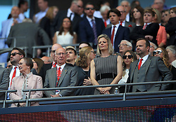 Sir Bobby Charlton (2nd left) with wife Norma Ball (left), Manchester United chief executive Ed Woodward (right)