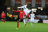 Cardiff city's Peter Odemwingie is challenged by Ashley Williams of Swansea city. Barclays Premier League match, Cardiff city v Swansea city at the Cardiff city stadium in Cardiff, South Wales on Sunday 3rd Nov 2013. pic by Andrew Orchard, Andrew Orchard sports photography,