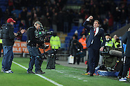 Malky Mackay, the Cardiff city manager shows his delight with a 2-2 draw.Barclays Premier League match, Cardiff city v Manchester Utd at the Cardiff city stadium in Cardiff, South Wales on Sunday 24th Nov 2013. pic by Andrew Orchard, Andrew Orchard sports photography,
