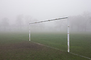 London park goalpost on an early misty morning.
