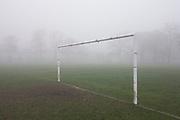 London park goalpost on an early misty morning.