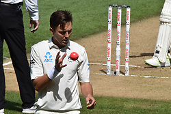 March 26, 2018 - Auckland, Auckland, New Zealand - Trent Boult of Blackcaps is is action during Day Five of the First Test match between New Zealand and England at Eden Park in Auckland on Mar 26, 2018. (Credit Image: © Shirley Kwok/Pacific Press via ZUMA Wire)