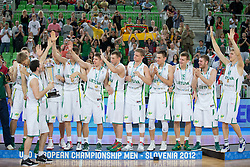Team Lithuania during ceremony after Lithuania won and become European Champions U-20 after basketball match between National teams of Lithuania and France in Final match of U20 Men European Championship Slovenia 2012, on July 22, 2012 in SRC Stozice, Ljubljana, Slovenia. Lithuania defeated France 50:49. (Photo by Matic Klansek Velej / Sportida.com)