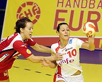 03.12.2008 Ohrid (FYR Macedonia)<br />Norway-Spain European women's handball championship<br />Lunde Kristine(L) Norway and Aguilar Macarena(R) Spain <br />Foto:Aleksandar Djorovic