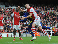 Football - 2021 / 2022 Premier League - Arsenal vs Chelsea - Emirates Stadium - Sunday 22nd August 2021<br /> <br /> Romelu Lukaku of Chelsea making his debut, is foiled by the crossbar as he beats Rob Holding to the ball<br /> <br /> Credit : COLORSPORT/Andrew Cowie