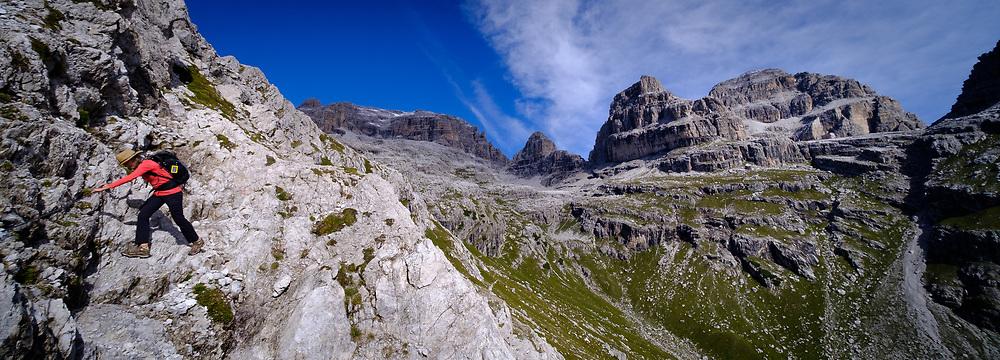 Hiking at Pozza Tramontana, Dolomites, Italy