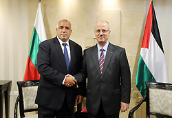 June 14, 2018 - Ramallah, West Bank, Palestinian Territory - Palestinian Prime Minister Rami Hamdallah meets with his Bulgarian counterpart Boyko Borissov, in the West Bank city of Ramallah on June 14, 2018  (Credit Image: © Prime Minister Office/APA Images via ZUMA Wire)