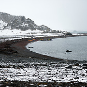The rugged landscape of Livingston Island in the South Shetland Islands in Antarctica.