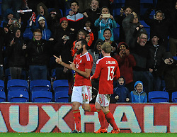 Joe Ledley of Wales celebrates his goal which makes it 1-1 - Mandatory byline: Dougie Allward/JMP - 07966 386802 - 13/11/2015 - FOOTBALL - Cardiff City Stadium - Cardiff, Wales - Wales v Netherlands - International Friendly