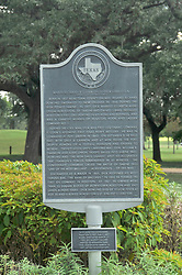 Confrederate Dick Dowling's statue stands at the Cambridge Street entrance to Hermann Park, in Houston, Texas.