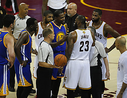 June 9, 2017 - Cleveland, OH, USA - The Golden State Warriors' Kevin Durant argues with the Cleveland Cavaliers' LeBron James during the third quarter during Game 4 of the NBA Finals at Quicken Loans Arena in Cleveland on Friday, June 9, 2017. The Cavs won, 137-116, trimming their series deficit to 3-1. (Credit Image: © Leah Klafczynski/TNS via ZUMA Wire)