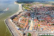Nederland, Zeeland, Walcheren, 09-05-2013; Vlissingen, boulevard en Westerschelde. Binnenstad.<br /> Flushing, esplanade and Western Scheldt.<br /> luchtfoto (toeslag op standard tarieven)<br /> aerial photo (additional fee required)<br /> copyright foto/photo Siebe Swart