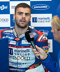 October 20, 2017 - Melbourne, Victoria, Australia - Italian rider Romano Fenati (#5) of Marinelli Rivacold Snipers is interviewed in his garage before the first free practice session of the Moto3 class at the 2017 Australian MotoGP at Phillip Island, Australia. (Credit Image: © Theo Karanikos via ZUMA Wire)