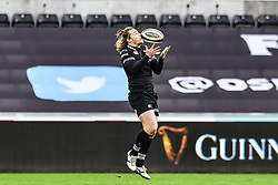Ospreys' Jeff Hassler claims the high ball<br /> <br /> Photographer Craig Thomas/Replay Images<br /> <br /> Guinness PRO14 Round 13 - Ospreys v Cardiff Blues - Saturday 6th January 2018 - Liberty Stadium - Swansea<br /> <br /> World Copyright © Replay Images . All rights reserved. info@replayimages.co.uk - http://replayimages.co.uk