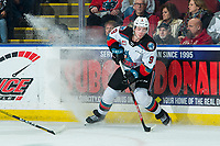 KELOWNA, BC - FEBRUARY 8: Mark Liwiski #9 of the Kelowna Rockets stops on the ice with the puck against the Portland Winterhawks at Prospera Place on February 8, 2020 in Kelowna, Canada. (Photo by Marissa Baecker/Shoot the Breeze)