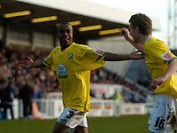 Photo: Jed Wee/Sportsbeat Images.<br /> Hartlepool United v Hereford United. Coca Cola League 2. 03/03/2007.<br /> <br /> Hereford's Danny Thomas (L) celebrates scoring their first equaliser.