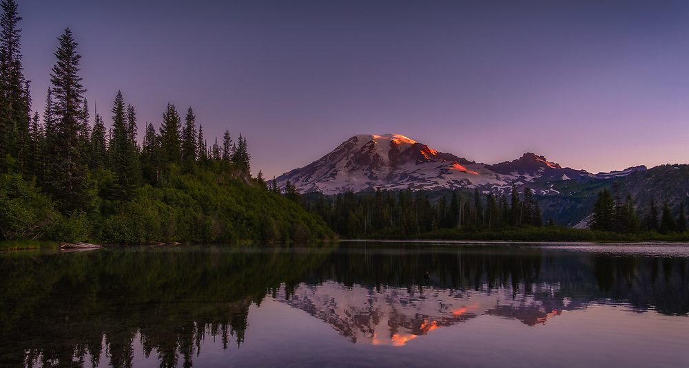 Bench Lake on Mount Rainier at sunrise. I woke early to walk the half hour or so to the lake, where I met my friend - who told me about this spot - to shoot another amazing sunrise on the mountain.