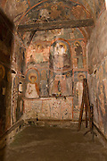 Albania, Prespa lakes, Snake Island (Zmiski Ostrov). Askitaria (Astoria) monastery of Panagia Eleoussa Virgin Mary Interior view of the wall paintings