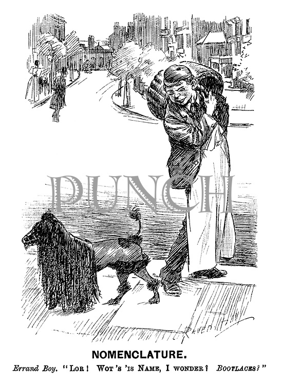 """Nomenclature. Errand boy. """"Lor! Wot's 'is Name, I wonder? BOOTLACES?"""" (a street scene showing a working class servant and a poodle with long fringe and muzzle)"""