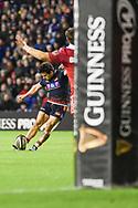 Simon Hickey converts during the Guinness Pro 14 2018_19 match between Edinburgh Rugby and Scarlets at BT Murrayfield Stadium, Edinburgh, Scotland on 2 November 2018.