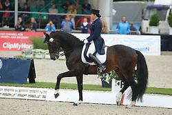 Merkulova, Inessa (RUS), Mister X<br /> Hagen - CDIO Nationenpreis Dressur 2015<br /> CDIO, Kür, Freestyle<br /> © www.sportfotos-lafrentz.de/Stefan Lafrentz